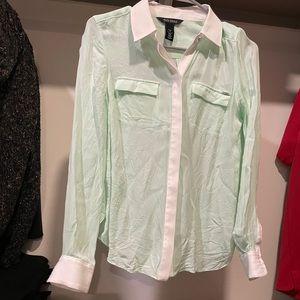 White House black market seafoam green silk shirt